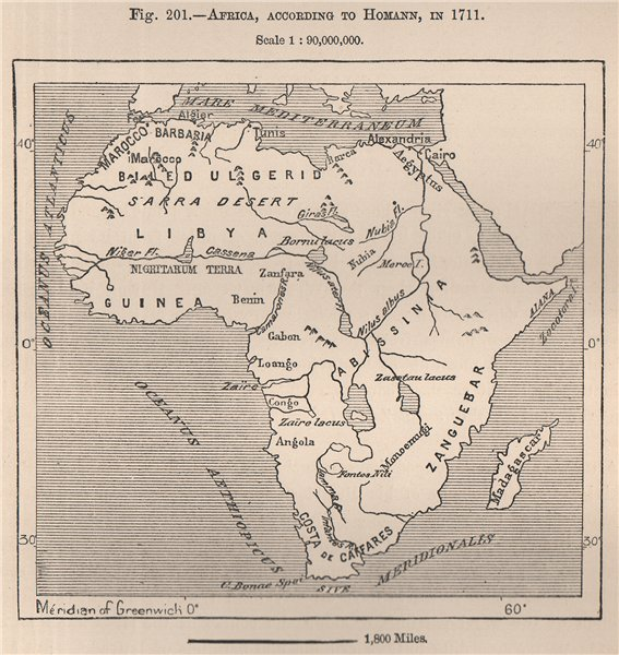 Associate Product Africa, according to Homann, in 1711. Congo Basin 1885 old antique map chart