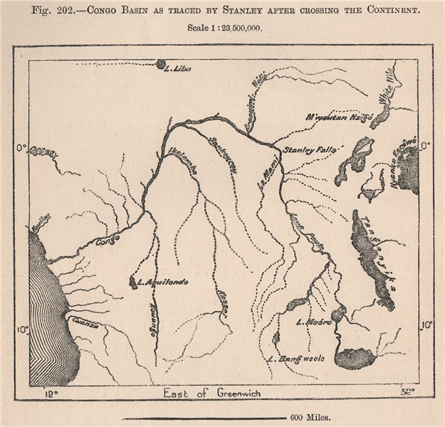 Associate Product Congo Basin as traced by Stanley after crossing the continent 1885 old map
