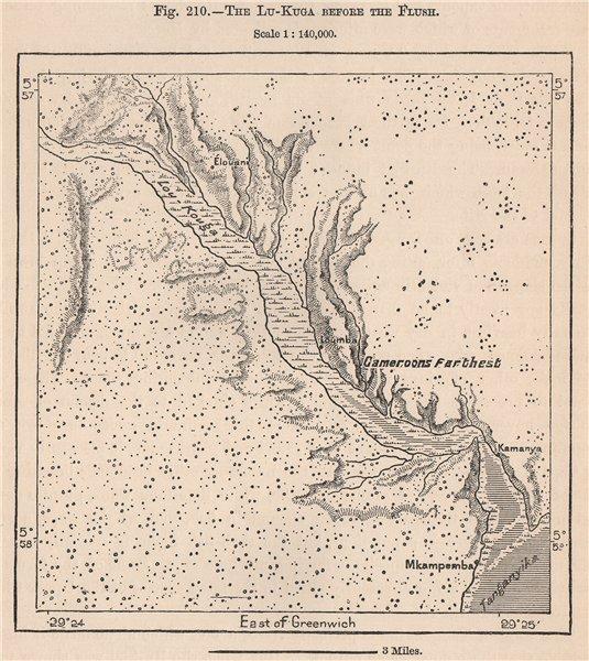 Associate Product The Lukuga river before the flush. Lake Tanganyika. Congo 1885 old antique map