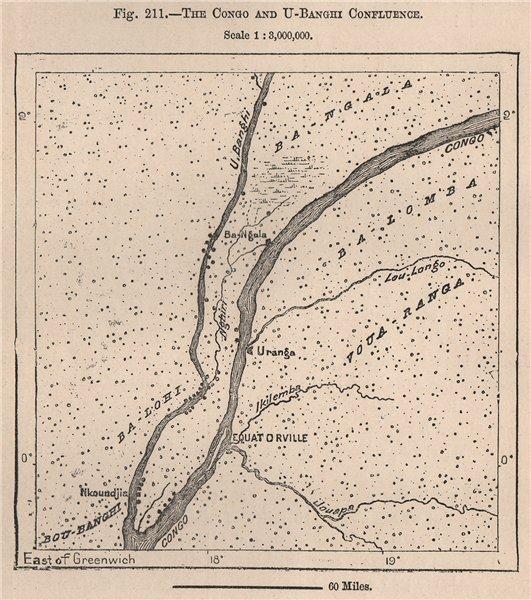 Associate Product Congo & Ubangi/Ubangui river confluence.Mbandaka Coquilhatville.Congo 1885 map