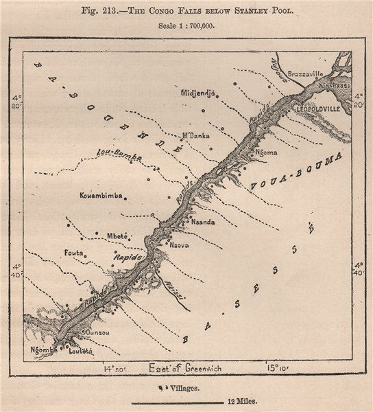 Associate Product The Congo Falls below Stanley Pool (Pool Malebo) . Congo Basin 1885 old map