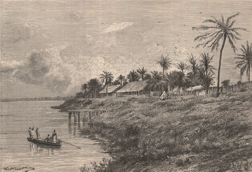 Associate Product Bangala station (Makanza) Independent Congo state. Congo Basin 1885 old print