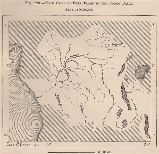 Associate Product Zone open to free trade in the Congo Basin 1885 old antique map plan chart