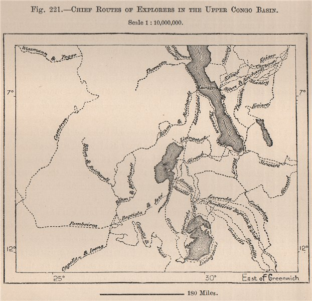 Associate Product Chief routes of explorers in the upper Congo Basin. Africa 1885 old map