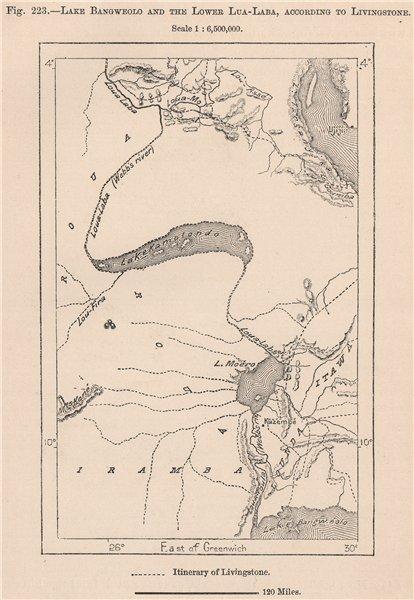 Associate Product Lakes Bangweulu, Mweru & lower Lualaba river, per Livingstone. Congo 1885 map
