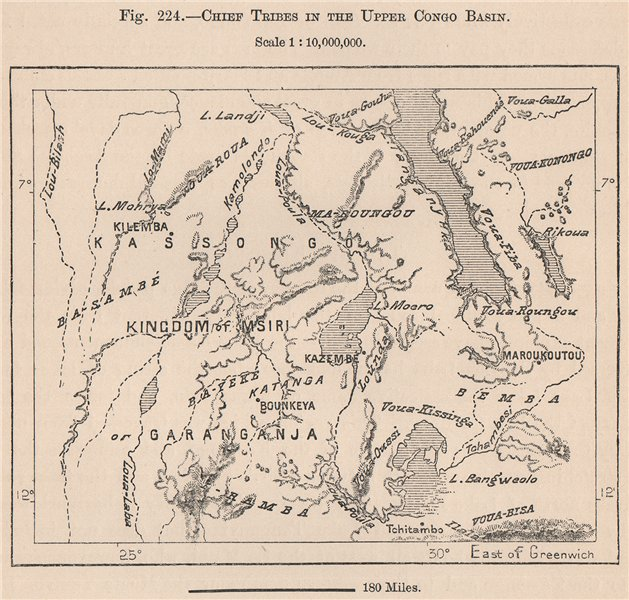 Associate Product Chief Tribes in the upper Congo Basin 1885 old antique vintage map plan chart