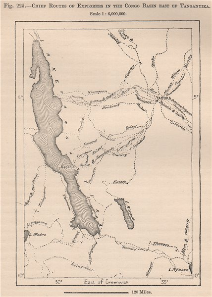 Associate Product Chief explorers' routes in the Congo Basin East of Tanganyika.Tanzania 1885 map