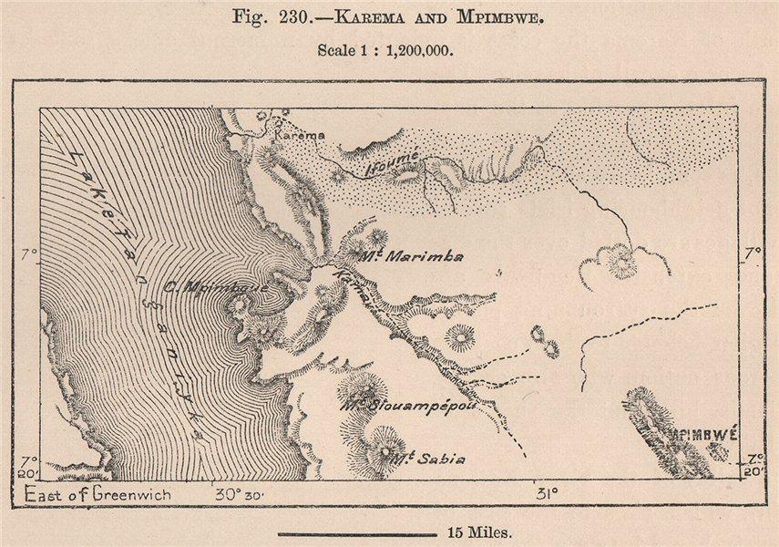 Associate Product Karema/Kalema and Mpimbwe. Tanzania. Lake Tanganyika 1885 old antique map