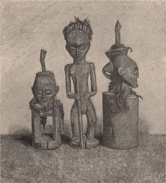 Associate Product Ma-Rungu Fetishes. Congo. Congo Basin 1885 old antique vintage print picture