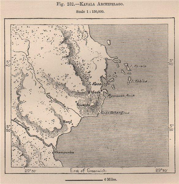 Kavala Archipelago Lake Tanganyika Congo 1885 Old Antique Map