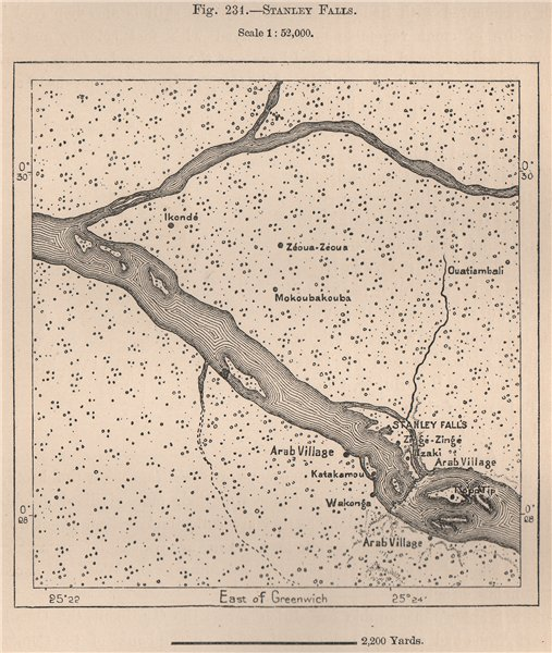 Associate Product Boyoma Falls (Stanley Falls) Lualaba river. Congo 1885 old antique map chart