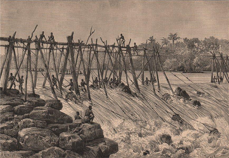 Associate Product Boyoma (Stanley) Falls, Lualaba river. Fishing at 7th cataract. Congo 1885