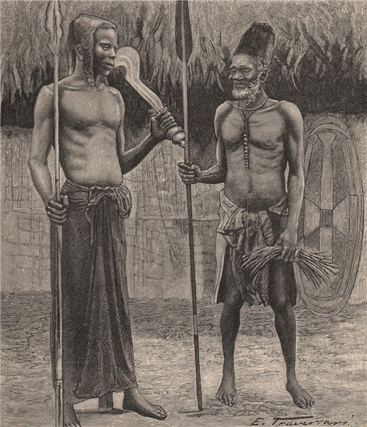 Associate Product Under chief of Iboko and Head Chief of the Bangala. Congo. Congo Basin 1885