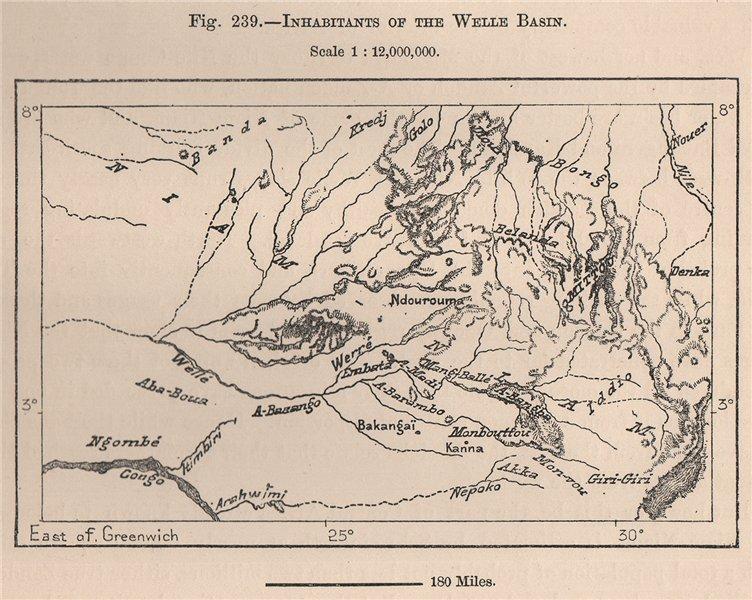 Associate Product Inhabitants of the Welle (Uele) river basin. Congo. Congo Basin 1885 old map