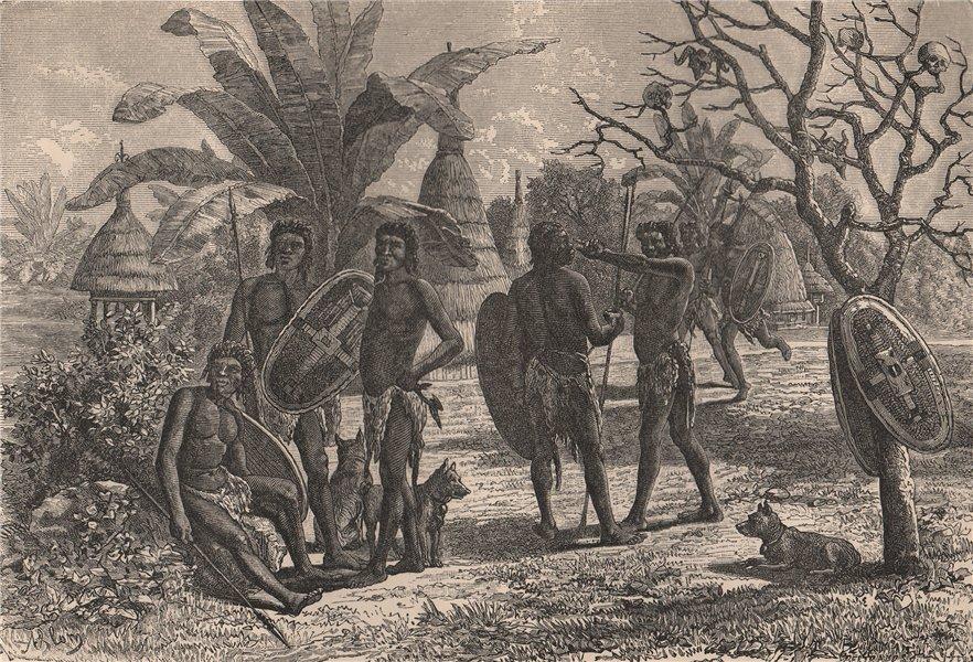 Associate Product Group of Niam-Niams (Azande) & their dwellings. Congo. Congo Basin 1885 print