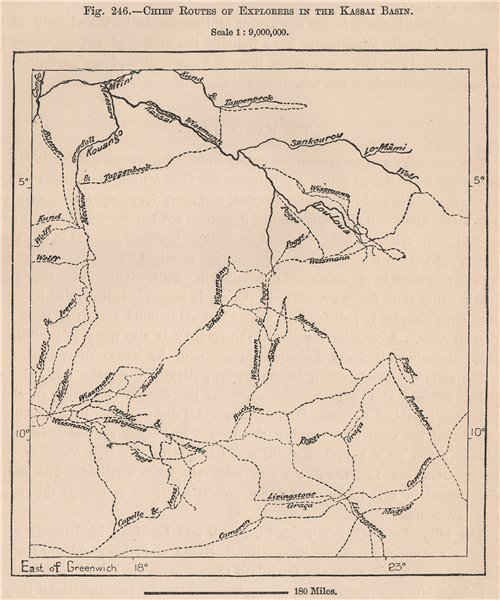 Associate Product Chief routes of explorers in the Kassai Basin. Congo. Congo Basin 1885 old map