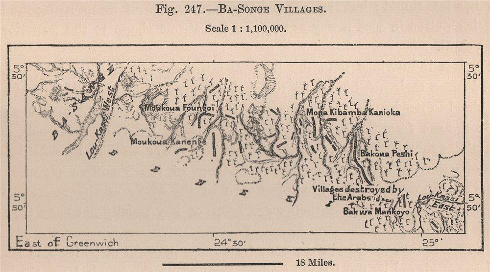 Associate Product Songye (Basonge) villages. Congo. Congo Basin 1885 old antique map plan chart
