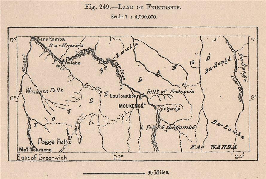 Associate Product Land of Friendship. Mukenge, Congo. Lulua river. Congo Basin 1885 old map
