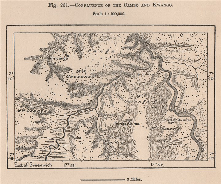 Associate Product Confluence of the Cambo and Kwango/Cuango. Congo Angola 1885 old antique map