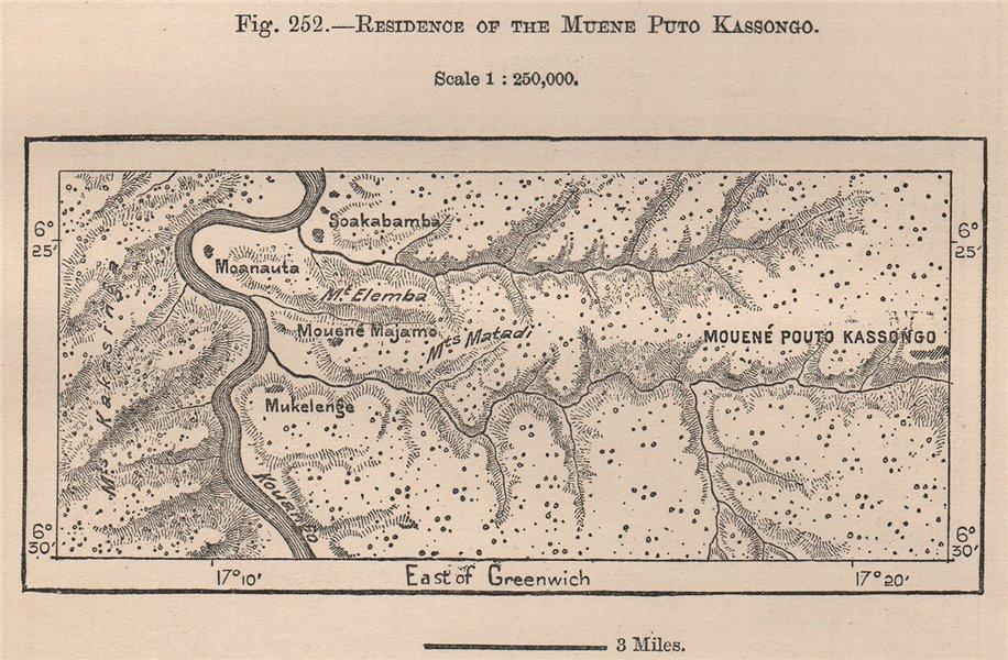 Residence of the Mwene Puto Kasongo. Congo. Kwango river 1885 old antique map