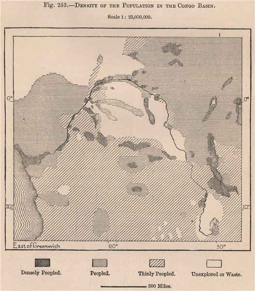 Associate Product Density of the population in the Congo Basin 1885 old antique map plan chart