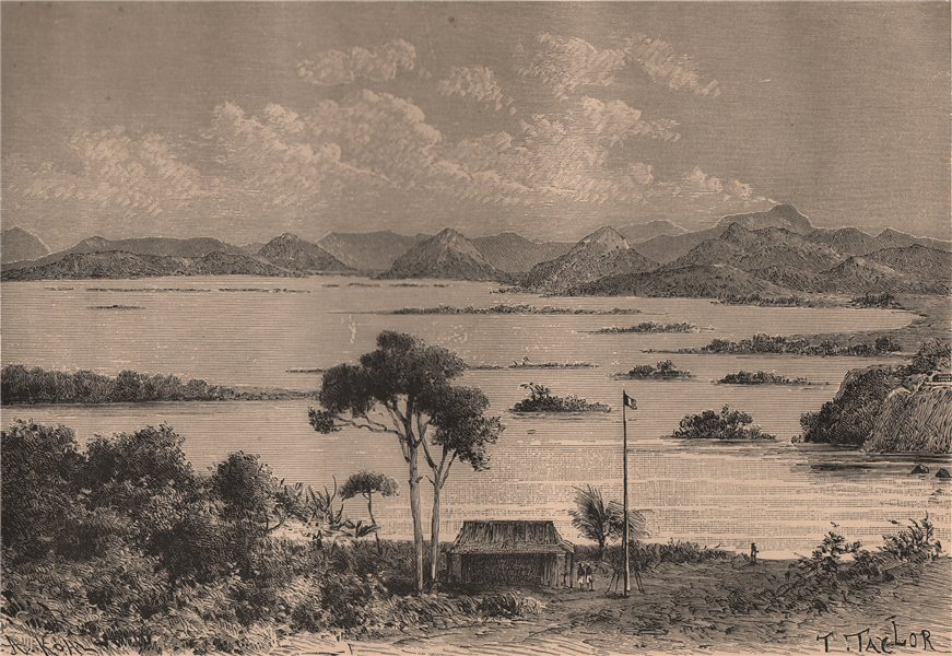 Associate Product Stanley Pool. Pool Malenbo - View from Brazzaville. Congo 1885 old print