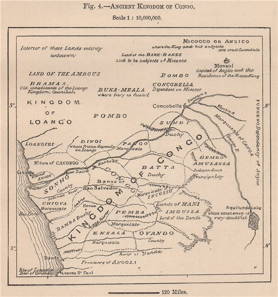 Associate Product Ancient Kingdom of Kongo. Congo. Africa. Angola 1885 old antique map chart