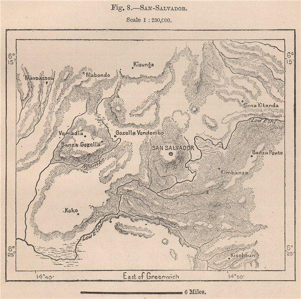 M'banza-Kongo (São Salvador/San Salvador) . Angola 1885 old antique map chart