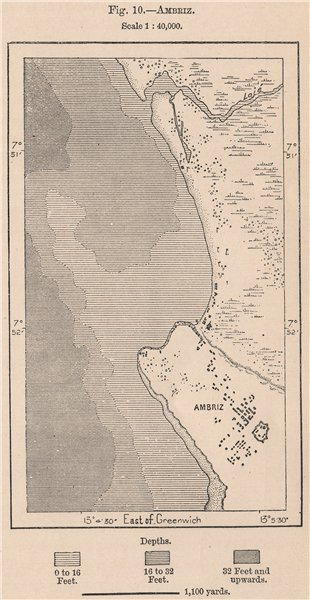 Associate Product Ambriz. Angola 1885 old antique vintage map plan chart