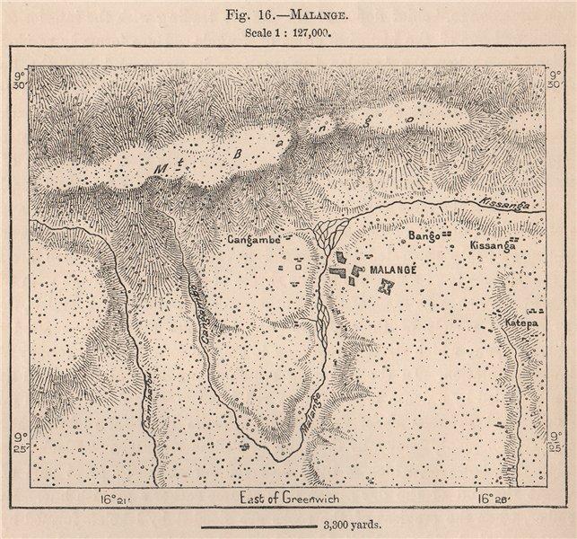 Associate Product Malange/Malanje. Angola 1885 old antique vintage map plan chart
