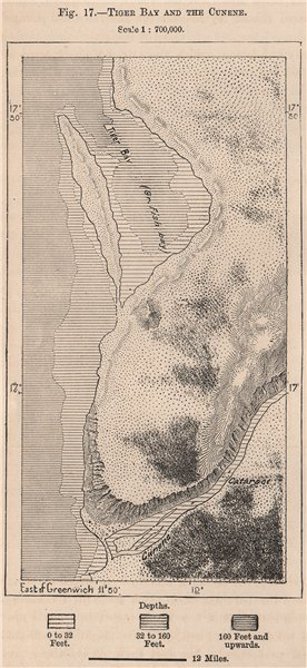 Associate Product Tiger Bay and the Cunene river. Angola 1885 old antique vintage map plan chart