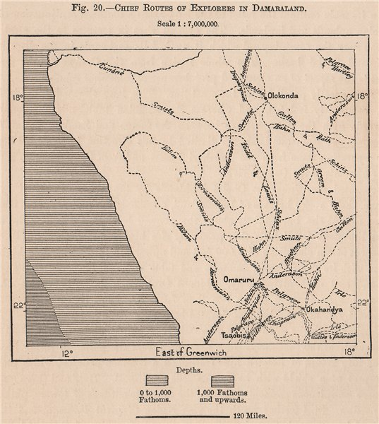 Associate Product Chief routes of explorers in Damaraland. Namibia 1885 old antique map chart