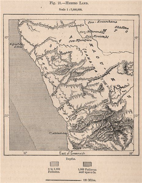 Associate Product Herero Land. Namibia. Damara and Namaqua Lands 1885 old antique map plan chart