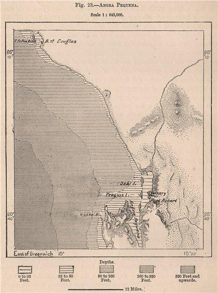 Lüderitz (Angra Pequena) . Namibia. Damara and Namaqua Lands 1885 old map