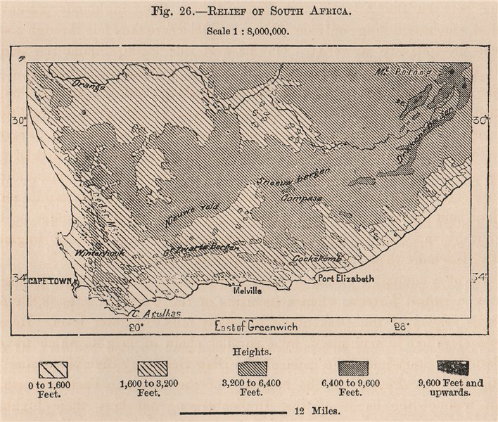 Associate Product Relief of South Africa 1885 old antique vintage map plan chart
