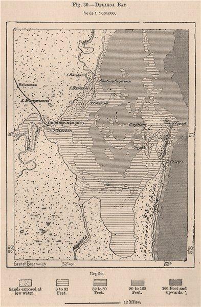 Associate Product Maputo Bay (Baía de Maputo/Lagoa) . Delagoa Bay. Mozambique 1885 old