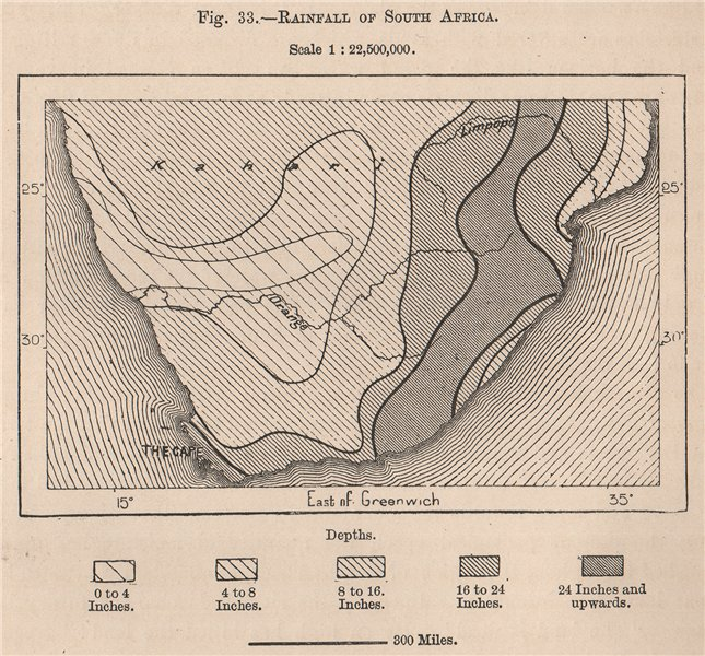 Associate Product Rainfall of South Africa 1885 old antique vintage map plan chart