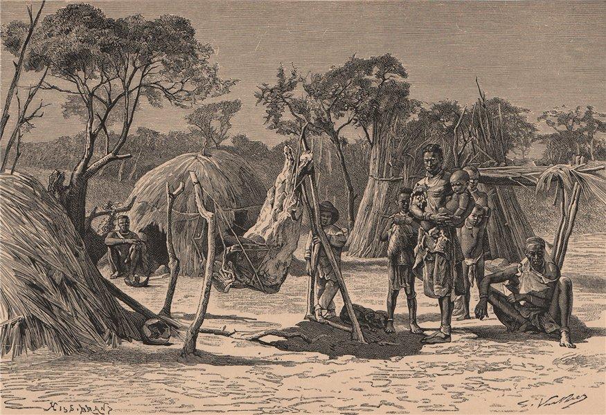 Associate Product Bushman Encampment. South Africa 1885 old antique vintage print picture