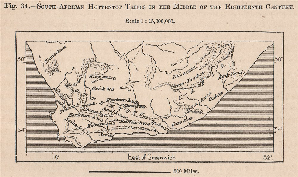Associate Product South African Hottentot tribes, mid-18th century 1885 old antique map chart