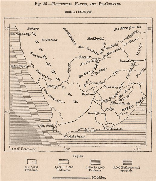 Associate Product Hottentots, Kafirs, and Bechuanas. South Africa 1885 old antique map chart