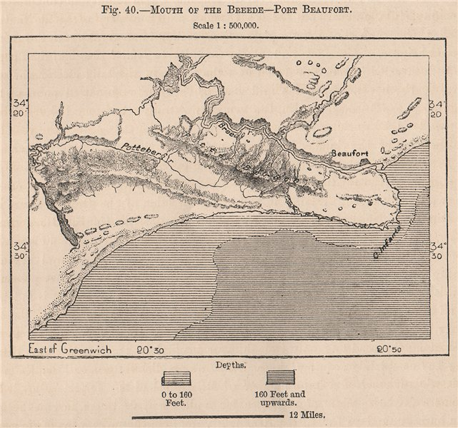 Associate Product Mouth of the Breede - Port Beaufort. South Africa. Cape Colony 1885 old map