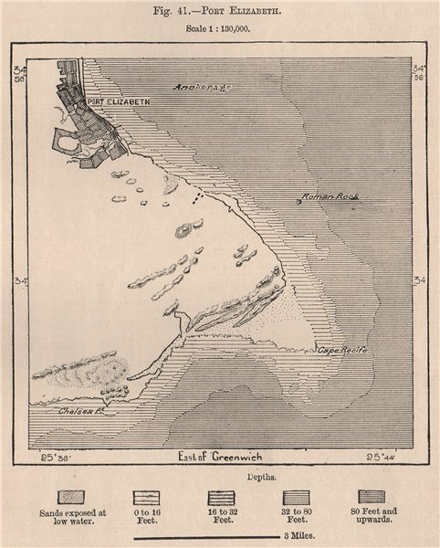 Associate Product Port Elizabeth. South Africa. Cape Colony 1885 old antique map plan chart