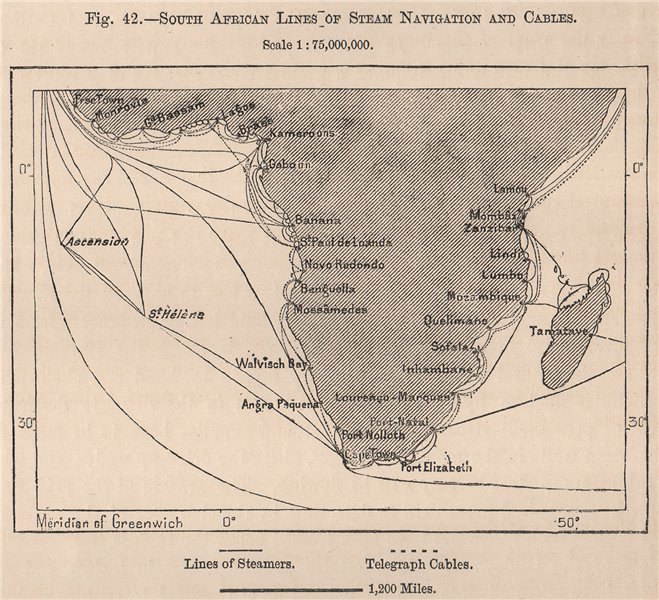 South African Lines of Steam Navigation and Cables. Cape Colony 1885 old map