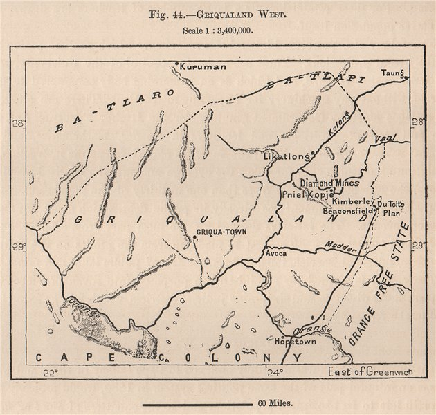 Associate Product Griqualand West. South Africa. Northern Cape 1885 old antique map plan chart