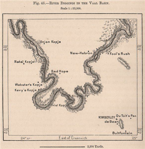 Associate Product River diggings in the Vaal Basin. South Africa. Cape Colony 1885 old map