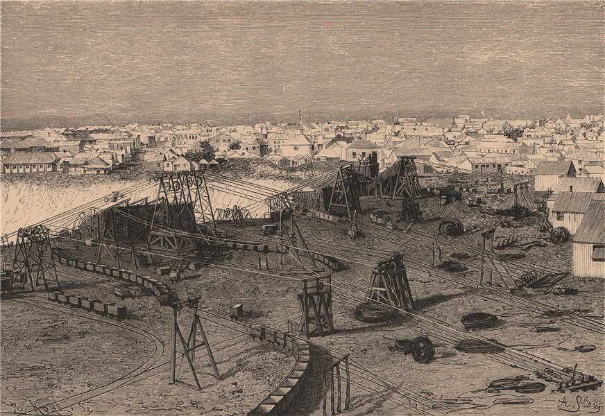Kimberley and its Diamond Mine. South Africa. Cape Colony 1885 old print