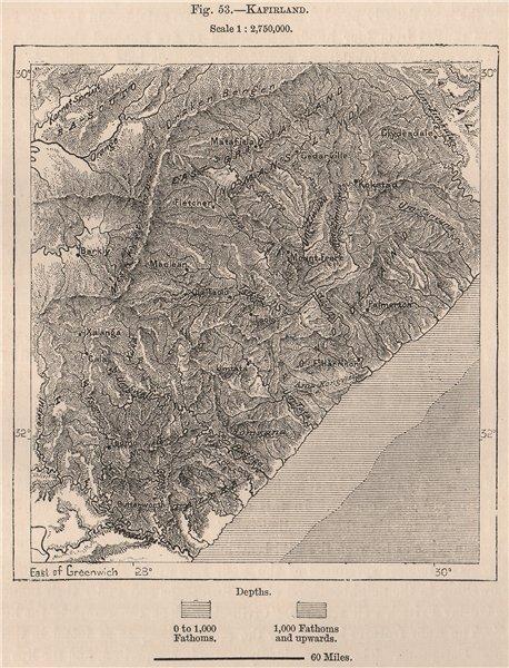 Associate Product 'Kafirland'. Eastern Cape. Kwazulu Natal. South Africa 1885 old antique map