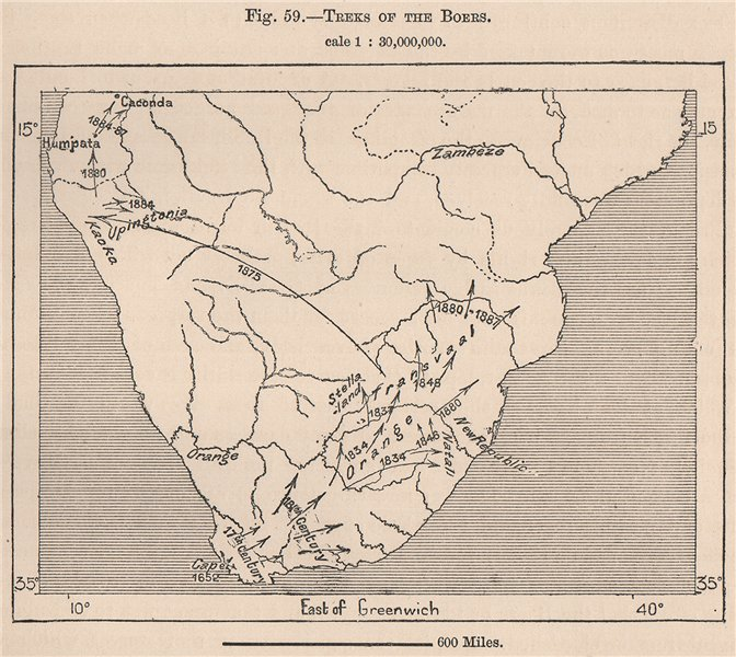 Associate Product Treks of the Boers. Africa 1885 old antique vintage map plan chart