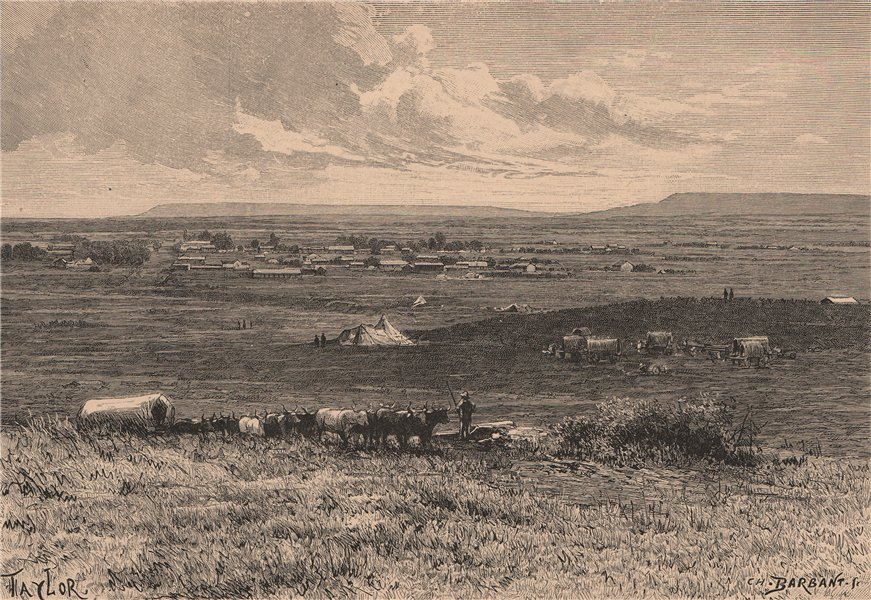 Associate Product Landscape on the East Frontier of Transvaal. South Africa 1885 old print