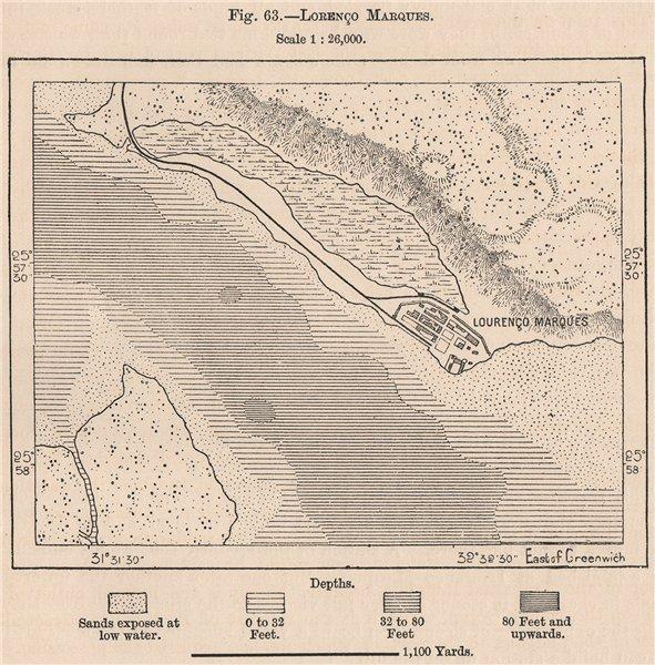 Associate Product Lorenço Marques (Maputo) . Mozambique 1885 old antique vintage plan chart
